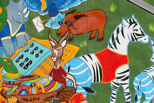 A scene in the UTSA Africa Live Mural created by art students from the University of Texas at San Antonio.