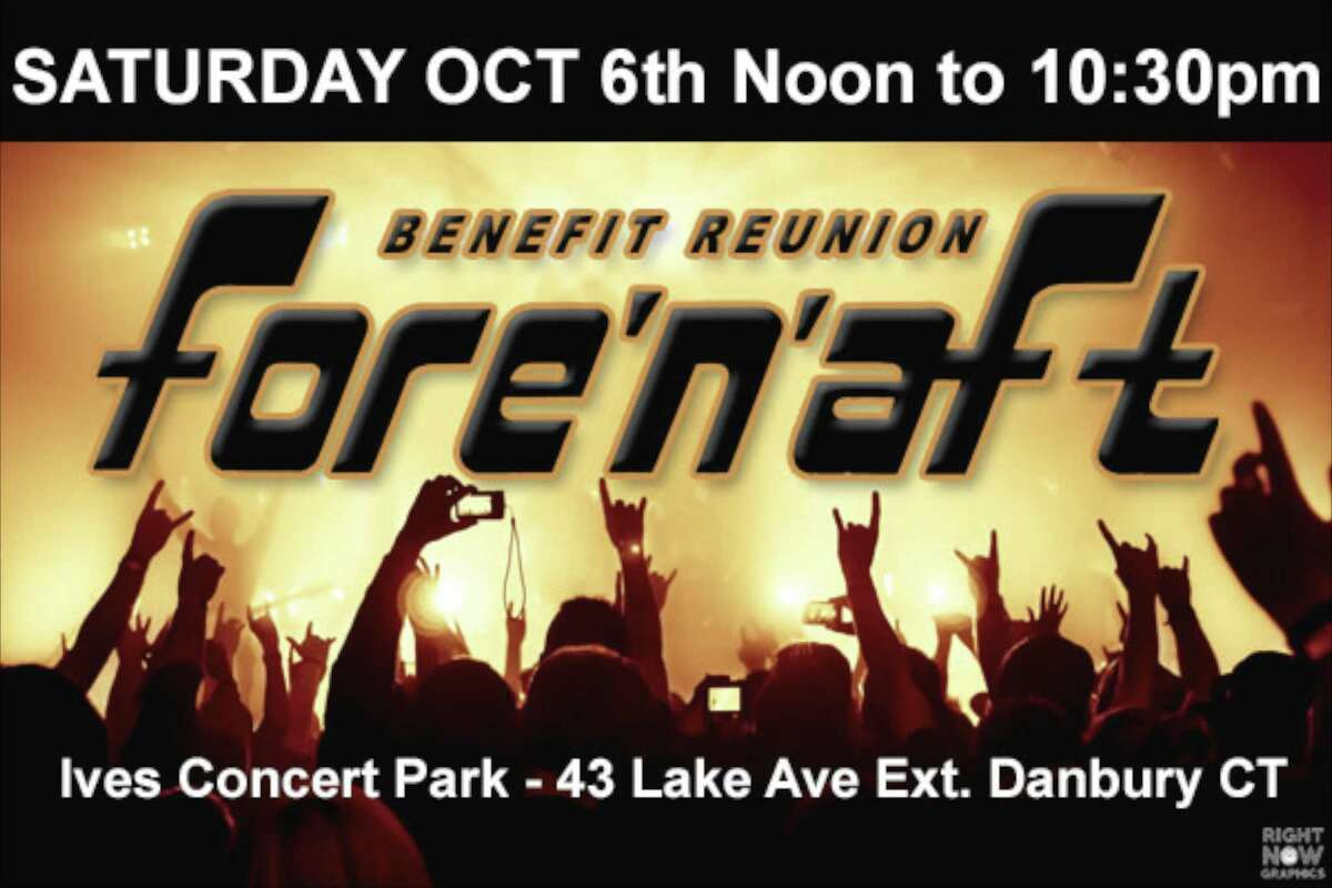 Banner for upcoming Fore'n'aft benefit reunion concert at Ives Concert Park in Danbury