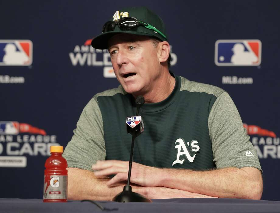Oakland Athletics manager Bob Melvin speaks during a news conference before American League wildcard baseball game against the New York Yankees, Wednesday, Oct. 3, 2018, in New York. (AP Photo/Frank Franklin II) Photo: Frank Franklin II, Associated Press