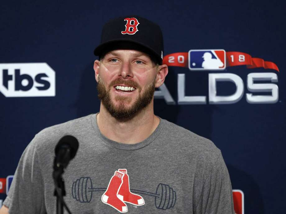 Red Sox ALDS Game 1 starter Chris Sale speaks to media before a workout at Fenway Park Thursday. (AP Photo/Elise Amendola) Photo: Elise Amendola / Associated Press / Copyright 2018 The Associated Press. All rights reserved