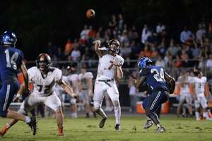 Grant Gunnell (7) of St. Pius X launches a pass in the second quarter of a high school football game between the Episcopal Knights and the St. Pius X Panthers on Friday, September 14, 2018 at Episcopal High School, Bellaire, TX.