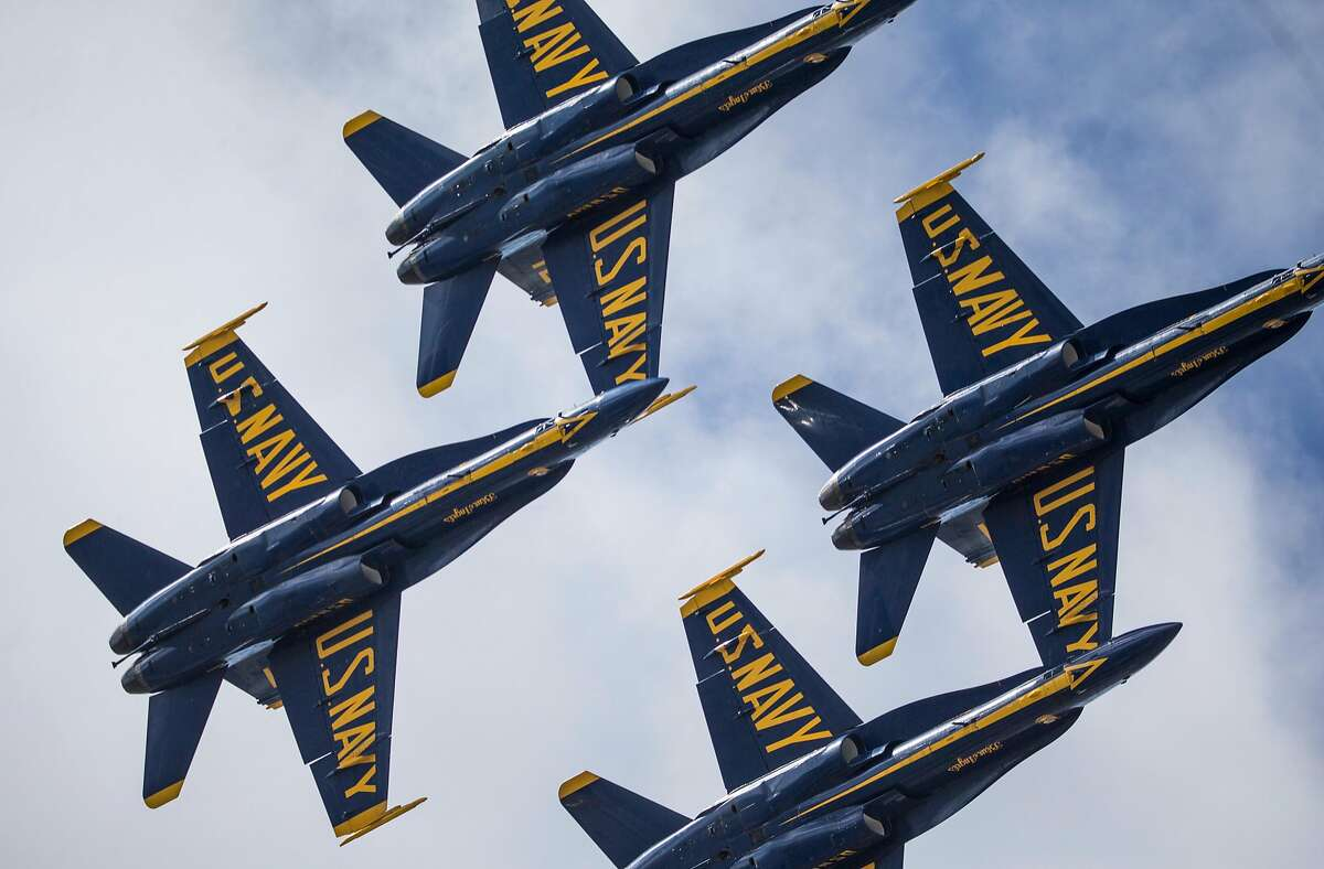 The U.S. Navy Blue Angels fly over San Francisco, Calif. Thursday, Oct. 4, 2018 during a practice run ahead of Fleet Week's annual Air Show.