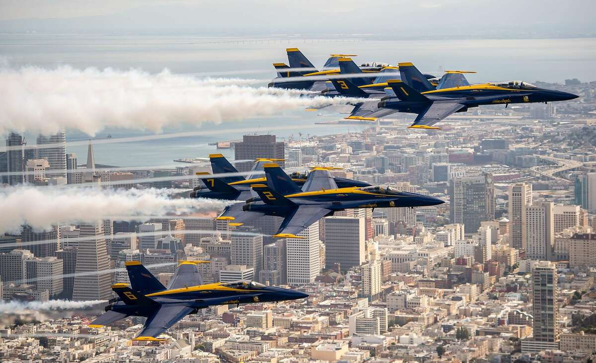 The US Navy Blue Angels fly over San Francisco, California as part of a practice run for Fleet Week on October 04, 2018.