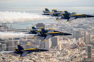 The US Navy Blue Angels fly over San Francisco, California as part of a practice run for Fleet Week on October 04, 2018. (Photo by JOSH EDELSON / AFP)JOSH EDELSON/AFP/Getty Images