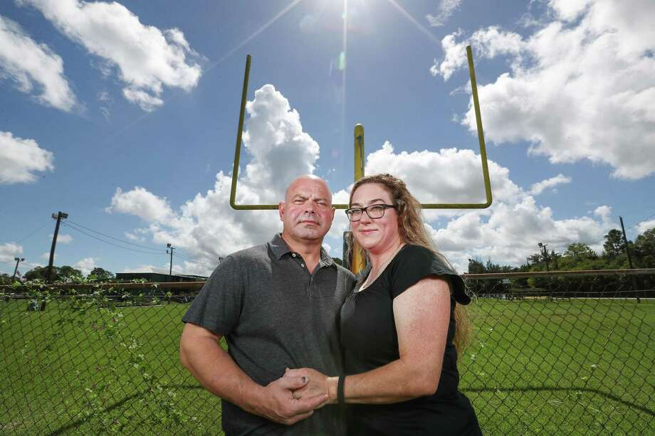 Troy and Donna Yarbrough, parents of C.Y., a teen injured from helmet-to-helmet contact at a scrimmage for the Santa Fe High School Indians in 2016, is shown here on Wednesday, Oct. 3, 2018, in Santa Fe. The Yarbroughs have filed a federal lawsuit against the Santa Fe school district, accusing officials of failing to protect the teen from injury. Photo: Steve Gonzales, Houston Chronicle / Staff Photographer / © 2018 Houston Chronicle