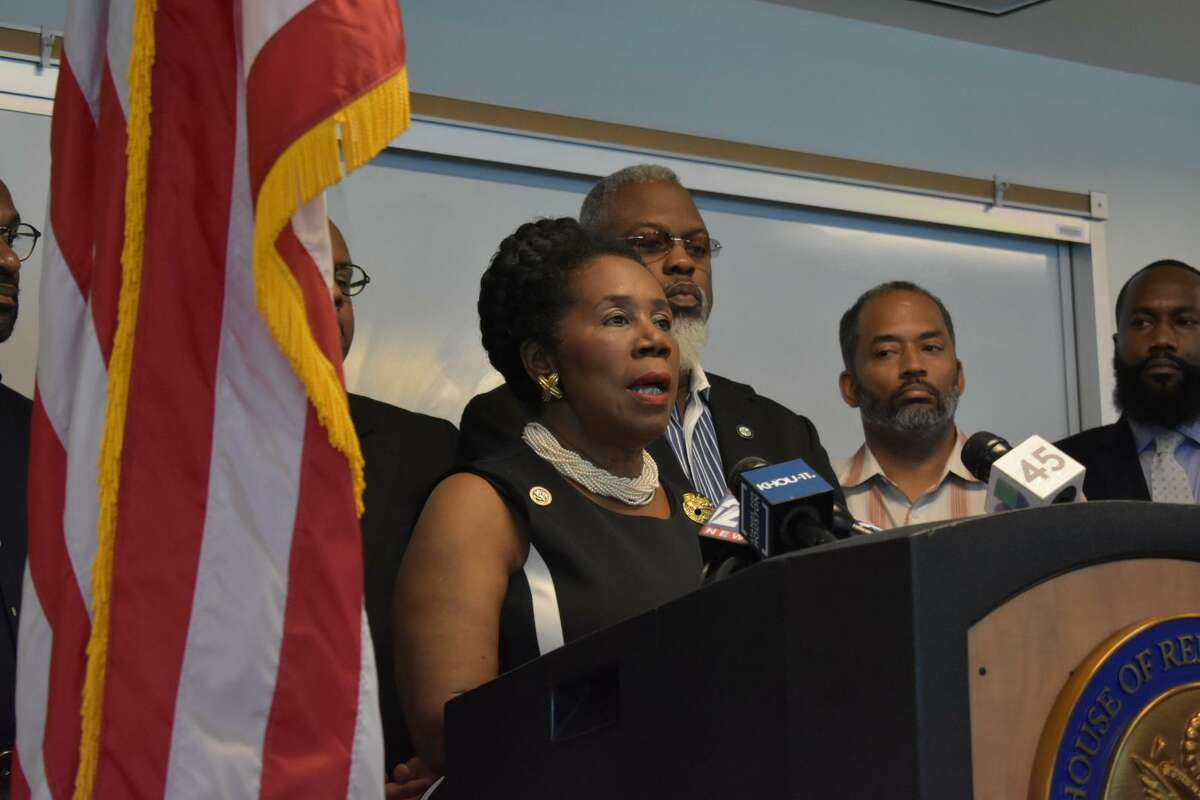 U.S. Rep. Sheila Jackson Lee, D-Houston, speaks to reporters Thursday, Oct. 4, 2018, at her Houston office about her Washington, D.C. intern's alleged