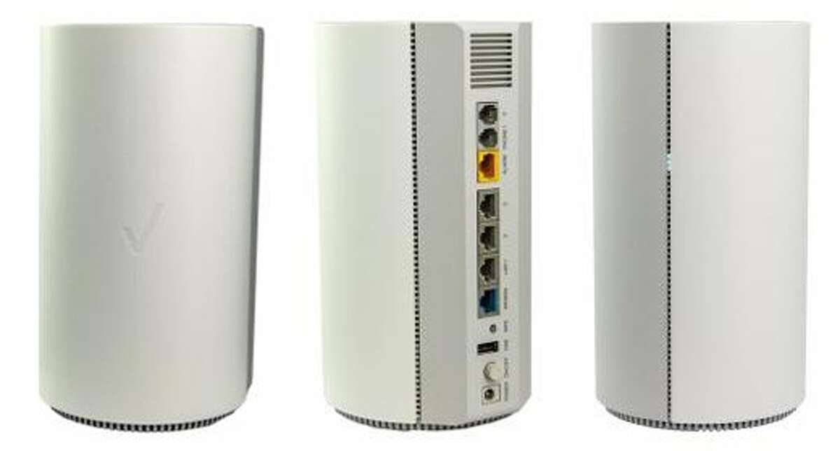 This undated combination of product images provided by Verizon shows different angles of the Inseego 5G Home router. Cellular companies such as Verizon are looking to challenge traditional cable companies with residential internet service that promises to be ultra-fast, affordable and wireless. Using an emerging wireless technology known as 5G, Verizon's 5G Home service provides an alternative to cable for connecting laptops, phones, TVs and other devices over Wi-Fi. It launches in four U.S. cities on Monday, Oct. 1, 2018. (Verizon via AP)