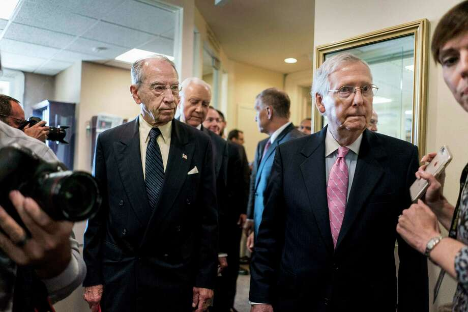 Senate Majority Leader Mitch McConnell, R-Ky., joined Sens. Chuck Grassley, R-Iowa, and John Thune, R-S.D., members of the Senate Finance Committee, in releasing legislation to permanently repeal the federal estate tax, which conservatives refer to as