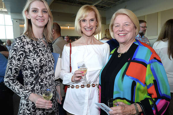 Kate Eckhart, Charlotte Mains and Becky Mason were at the fourth annual Wine Down with Rotary, benefitting the Beaumont Rotary Foundation Thursday at the Event Centre. Attendees sampled six wines, paired with appetizers while enjoying jazz and a silent auction. Thursday, October 4, 2018 Kim Brent/The Enterprise