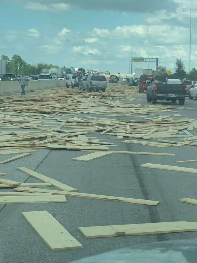 Lost load of lumber on Eastex Freeway near Kingwood on Oct. 4. Photo: Montgomery County Sheriff's Office