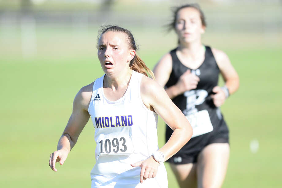 Midland High's Shelby Schmidt finishes sixth in the varsity girls race with a time of 21:54.88 during the Odessa Cross-Country Invitational Oct. 4, 2018, at UTPB Park. James Durbin/Reporter-Telegram Photo: James Durbin / ? 2018 Midland Reporter-Telegram. All Rights Reserved.