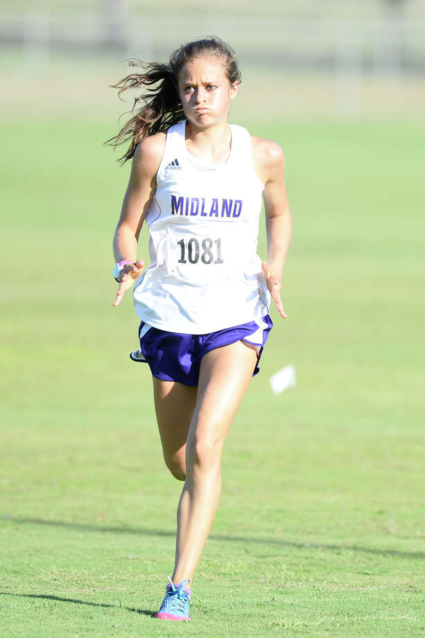 Midland High's Kandus Box finishes ninth in the girls varsity race with a time of 22:09.66 during the Odessa Cross-Country Invitational Oct. 4, 2018, at UTPB Park. James Durbin/Reporter-Telegram Photo: James Durbin / ? 2018 Midland Reporter-Telegram. All Rights Reserved.