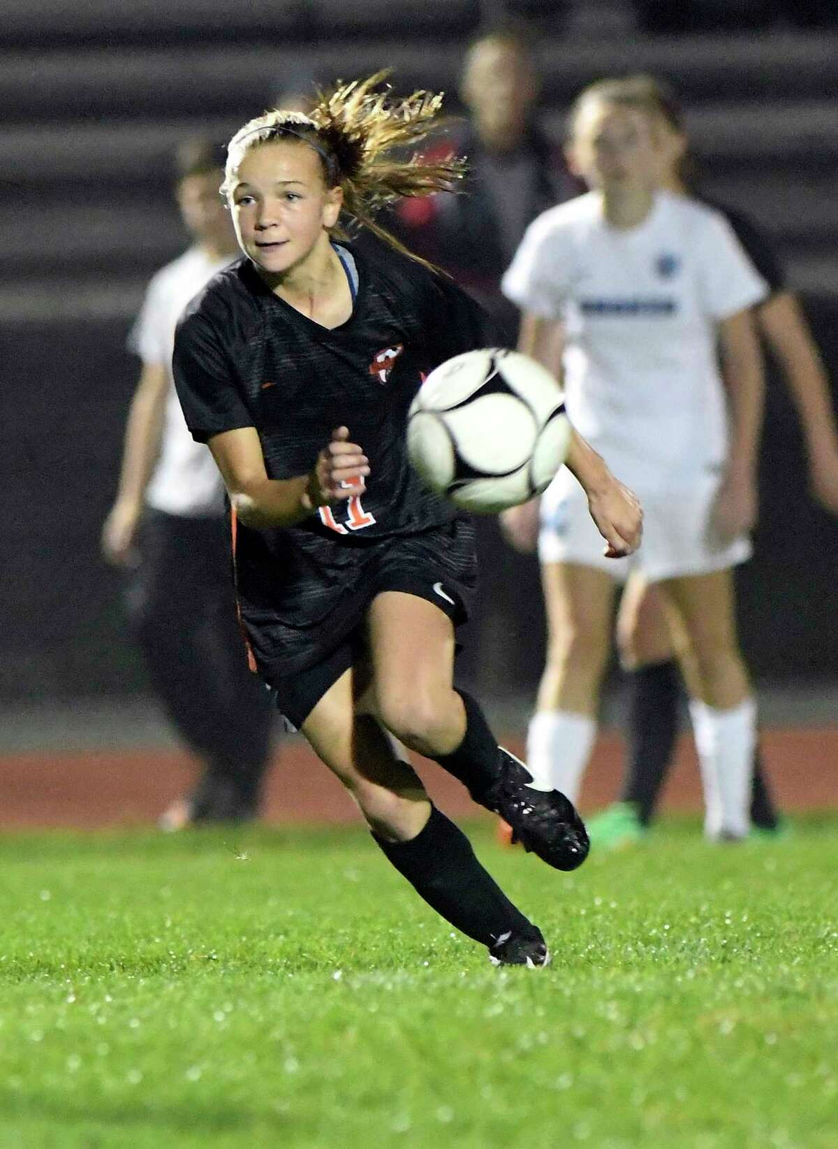 Bethlehem's Claire Hutton (11) moves the ball against Shaker during a Section II High School girls soccer game Thursday, Oct. 4, 2018, in Delmar, N.Y. (Hans Pennink / Special to the Times Union)