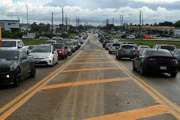 Traffic jams the north and south bound lanes south of the Barker Cypress overpass at Highway 290 on Sept. 13, 2018.
