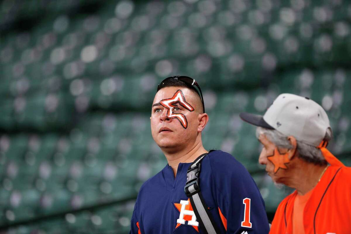 Houston Astros fans arrived early before the start of the ALDS Game 1 at Minute Maid Park, October 5, 2018, in Houston.