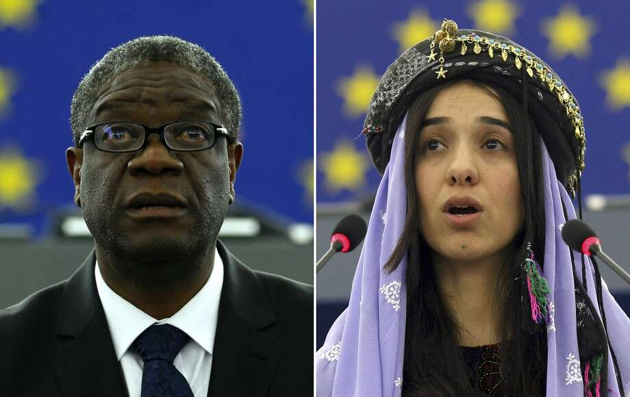 Denis Mukwege (left) and Nadia Murad have worked to eliminate sexual violence as a weapon of war. Photo: Christian Lutz / Associated Press