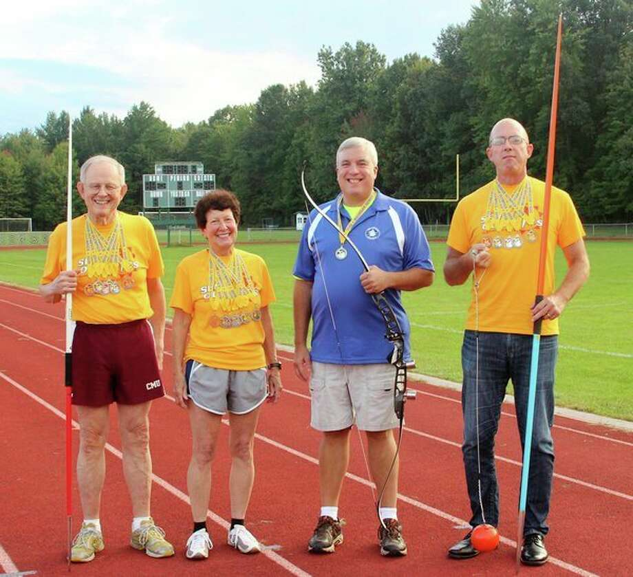 Pictured, from left, are Midlanders who competed at the Michigan Senior Olympics in August 2018: Wendell Dilling, Rebecca Wieland, Dave Wallick, Robert Appell. Not pictured are Wendy Franz, James Hoogerhyde, Roschelle Houston, Gail Kantak, Howard King, Willis Pennington, Vicki Rothhaar. (Photo by Marcia Dilling)