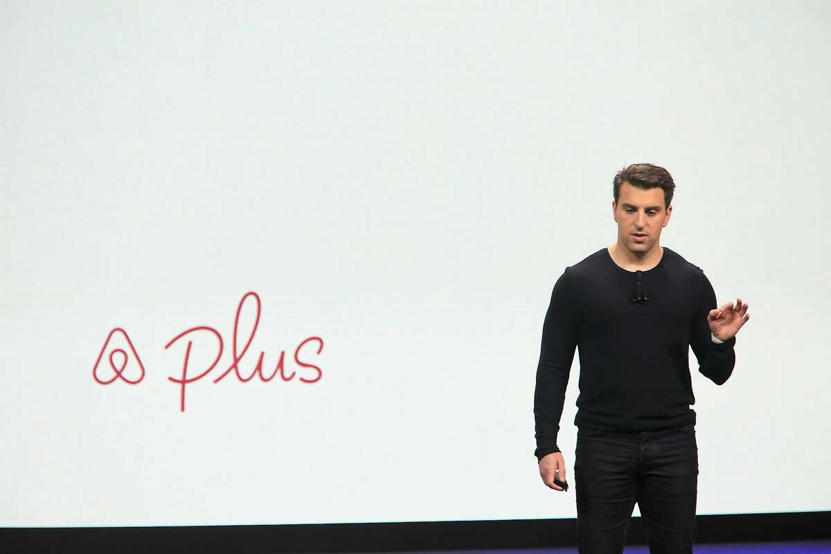 Airbnb co-founder and CEO Brian Chesky speaks about Airbnb Plus during the keynote at the Masonic theater in San Francisco, Calif., on Thursday, February 22, 2018.