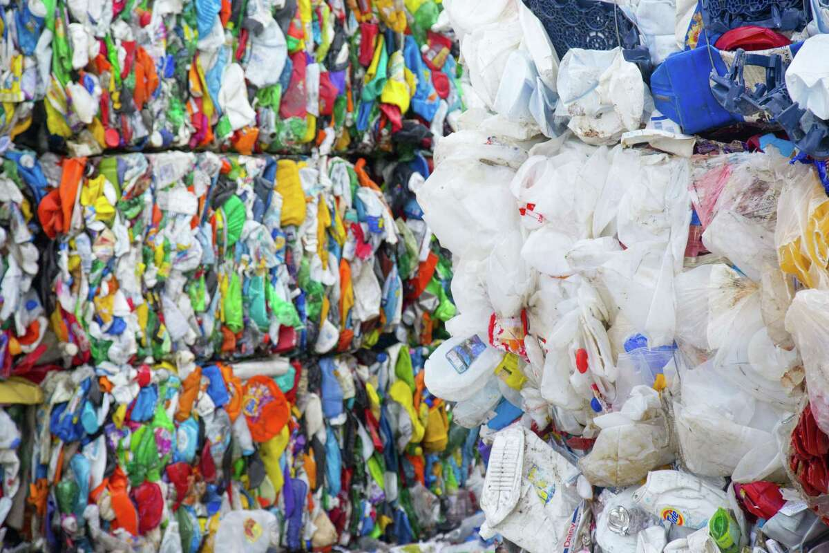Bales of plastic that has been sorted and compressed at the Waste Management Recycling Facilityin Southwest Houston.