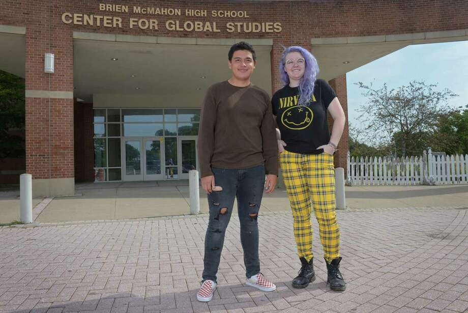 Center for Global Studies junior Alejandro Vasquez and Senior Aidan Bowman at chose their school instead of attending their assigned school. Norwalk is offering more options for students who are desiring specific course program. Photo: Erik Trautmann / Hearst Connecticut Media / Norwalk Hour