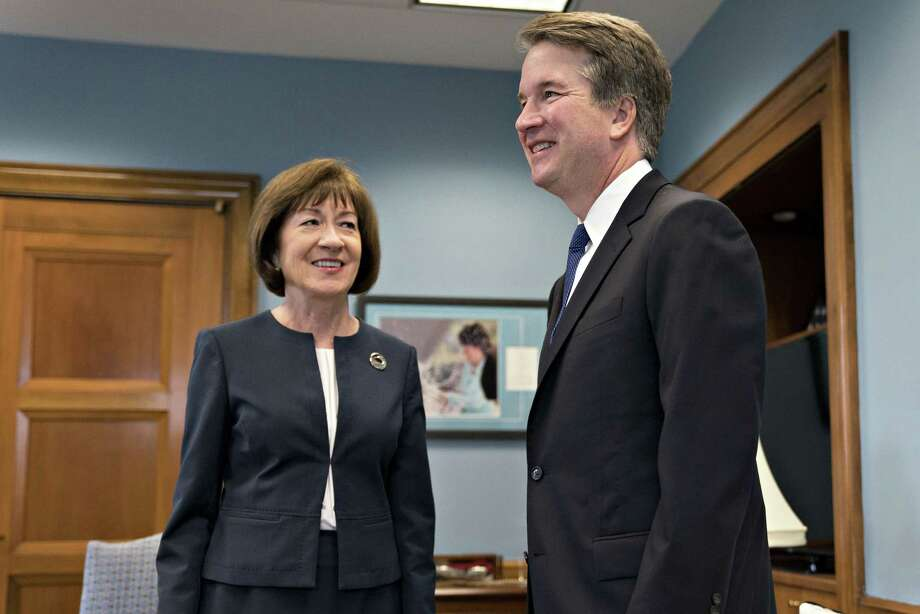 Sen. Susan Collins, R-Maine, meets with Supreme Court nominee Bret Kavanaugh in Washington, D.C., on Aug. 21, 2018. Photo: Bloomberg Photo By Andrew Harrer / Bloomberg