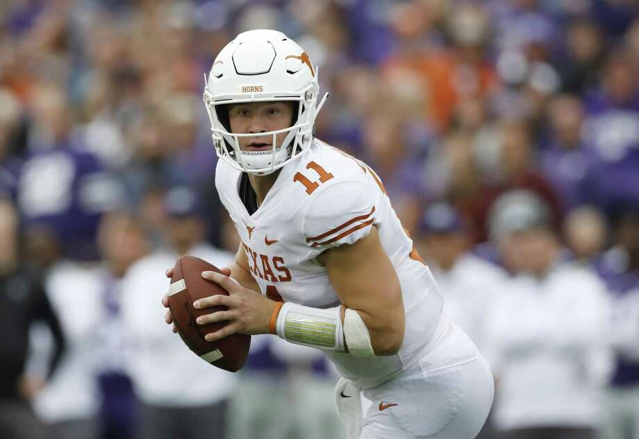 FILE - In this Saturday, Sept. 29, 2018, file photo, Texas quarterback Sam Ehlinger looks for an open receiver during the second quarter of a college football game against Kansas State in Manhattan, Kan. Ehlinger hasn't thrown an interception in the past month during the first four-game winning streak for the Longhorns since 2013. (AP Photo/Colin E. Braley, File) Photo: Colin E. Braley, FRE / Associated Press / Copyright 2018, The Associated Press