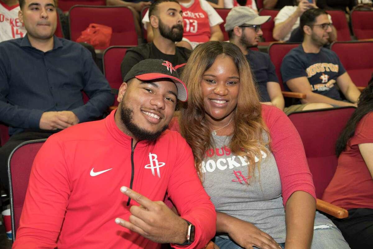 Houston Rockets fan attend the Fan Fest & Open Practice, Friday, Oct. 5, 2018, in Houston.