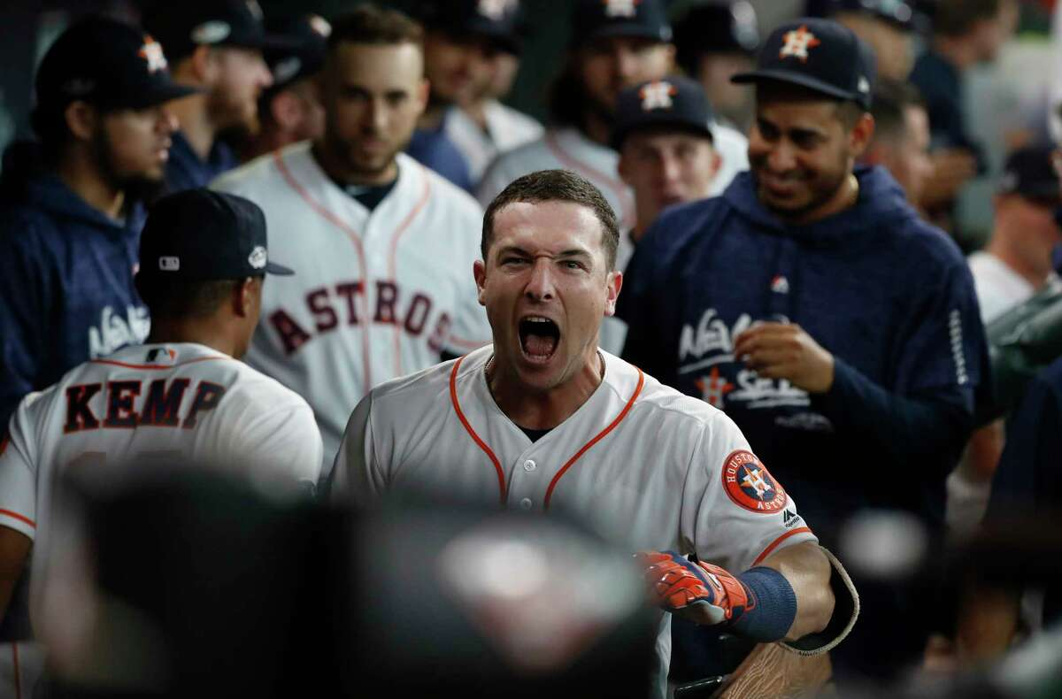 Houston Astros third baseman Alex Bregman (2) celebrates a fourth inning home run during Game 1 of the American League Division Series at Minute Maid Park on Friday, Oct. 5, 2018, in Houston.