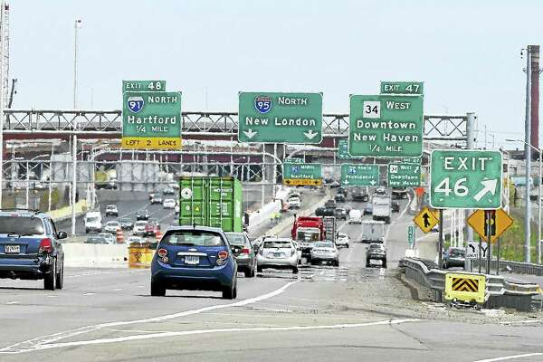 Traffic heads northbound on Interstate 95 in New Haven past Exit 46 on May 10, 2016, before lanes were shifted during construction work on the interchange.