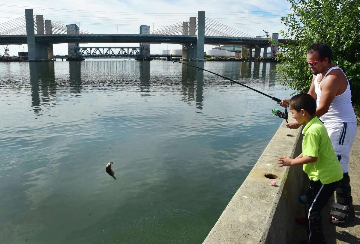 With the newly opened Pearl Harbor Memorial Bridge's Interstate 95 southbound lanes as a background, Lucas Paucy of New Haven reels in a fish, right, with his son Lucas Paucy Jr., 8, at Grape Vine Point near Criscuolo Park on James Street in New Haven on Sept. 27, 2015.