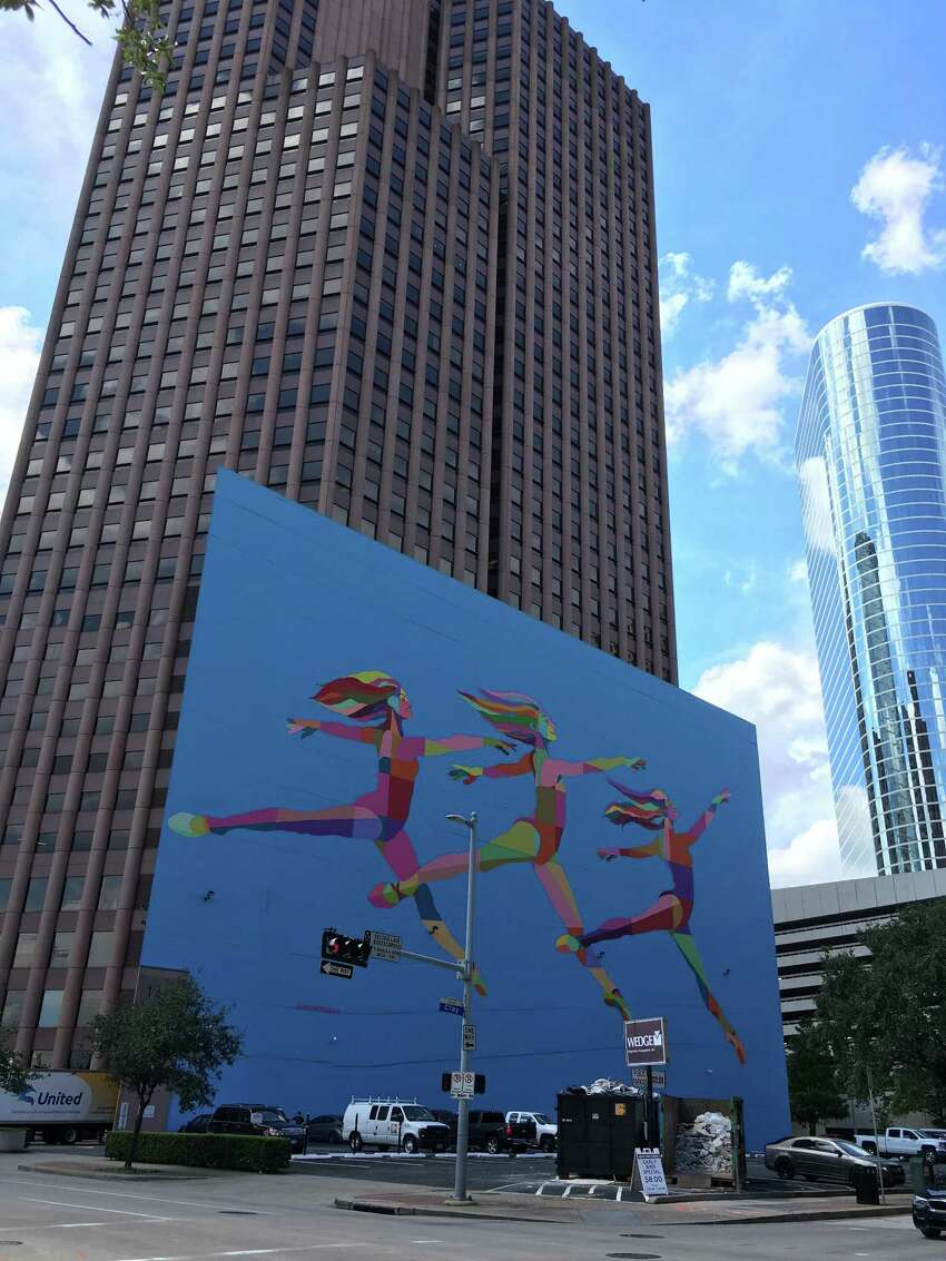 The Sky Dance mural on Wedge Group's garage at 1415 Louisiana was created in conjunction with the Houston Downtown Management District and the Houston Ballet.