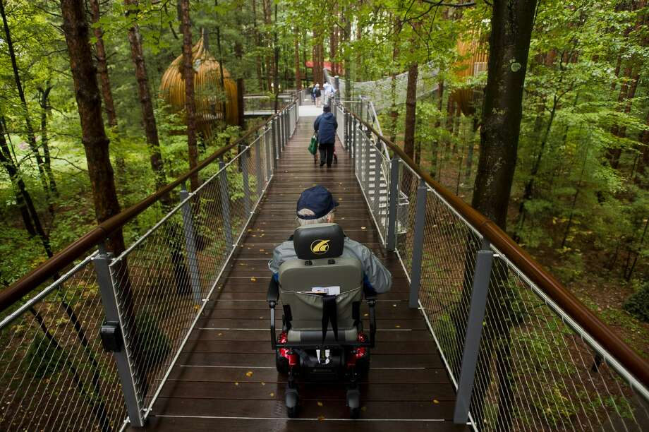 Midland resident Bill Brown explores the Whiting Forest Canopy Walk, which is ADA accessible, during its Accessibility Day open house Tuesday, Oct. 2, 2018. The facility opens to the public tomorrow. For more photos from Accessibility Day, go to www.ourmidland.com. (Katy Kildee/kkildee@mdn.net) Photo: (Katy Kildee/kkildee@mdn.net)