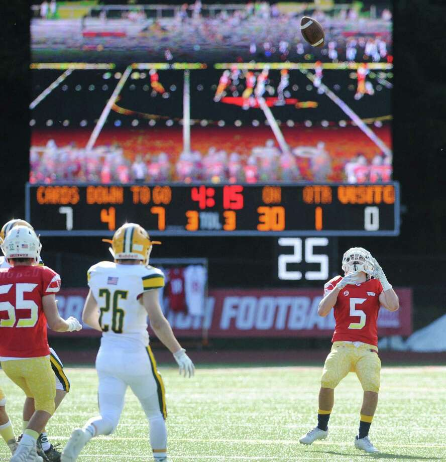 The new Greenwich High School scoreboard is visible during the football game between Greenwich High School and Trinity Catholic High School at Cardinal Stadium in Greenwich, Conn., Saturday, Sept. 15, 2018. Photo: Bob Luckey Jr. / Hearst Connecticut Media / Greenwich Time