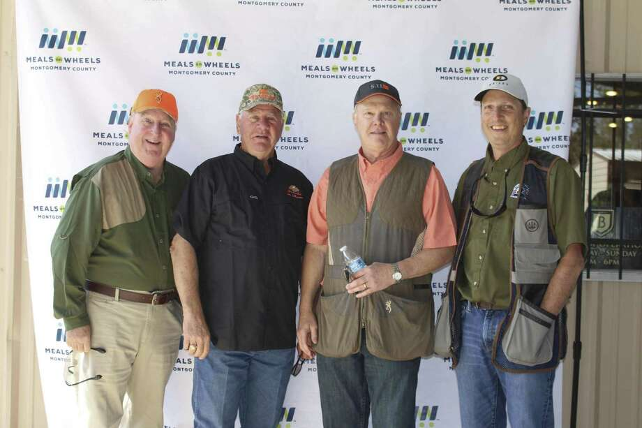 "The SWBC Mortgage team of Gil Staley, Terry Sellers, Jack Stibbs and David Baker at last year's 2017 ""The Great Pumpkin Shoot"" benefiting Meals On Wheels Montgomery County."