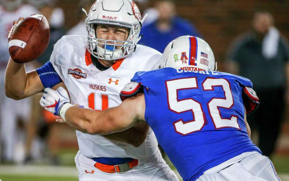 PHOTOS: Most expensive Texas college football teams  Houston Baptist quarterback Bailey Zappe (4) is sacked by Southern Methodist defensive end Gerrit Choate (52) during the first half on Saturday, Sept. 29, 2018, at Ford Stadium in Dallas.  >>>Here's a look at the most expensive Texas college football teams ...  Photo: Shaban Athuman, TNS / Dallas Morning News