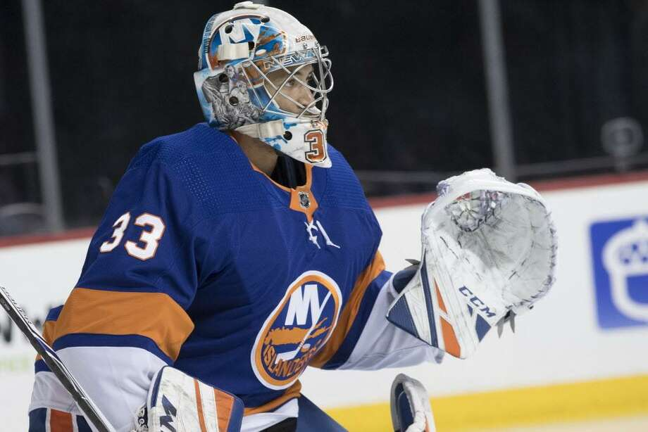 New York Islanders goalie Christopher Gibson warms up before the start of the third period of a preseason ckey game against the New Jersey Devils on Sept. 20 in New York. Photo: Mary Altaffer / Associated Press / Copyright 2018 The Associated Press. All rights reserved.