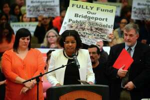 Then Interim School Superintendent Aresta Johnson speaks to urge city council to fully fund the school board budget request during a meeting at City Hall's Council Chambers in Bridgeport, Conn., on Tuesday Apr. 25, 2017. The board wants $11.4 million over what it gets now.