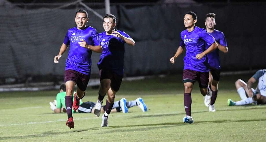 The TAMIU men's soccer team celebrates a goal on Thursday, Oct. 4, 2018, at the TAMIU Soccer Complex during a game against St. Mary's University. Photo: Danny Zaragoza /Laredo Morning Times