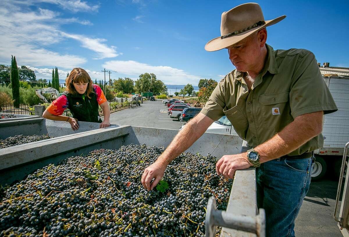 Clay Shannon tries some Cabernet with winemaker Joy Merrilees at his winery in Nice, Calif. on October 5th, 2018.