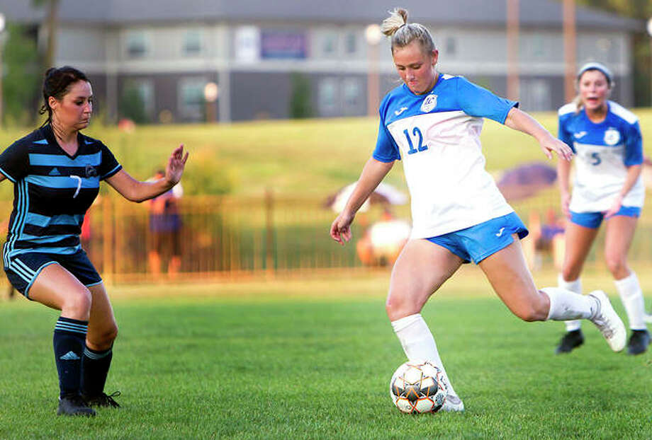 LCCC's Kassidy Louvall scored a pair of goals Friday in the Trailblazers' 4-0 victory over State Fair community College in Sedalia, Mo. Louvall, a sophomore from St. Dominic High School, has 11 goals on the season for the No. 6-ranked Trailblazers. Photo: Jan Dona, LC Media Services | For The Telegraph