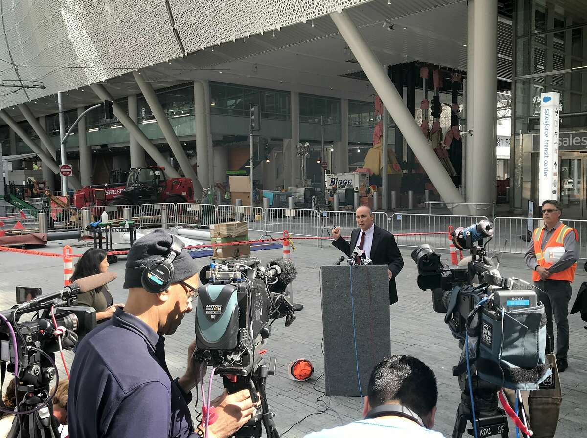 Mark Zabaneh, executive director of the Transbay Joint Powers Authority, updates reporters at a press conference on Friday afternoon.