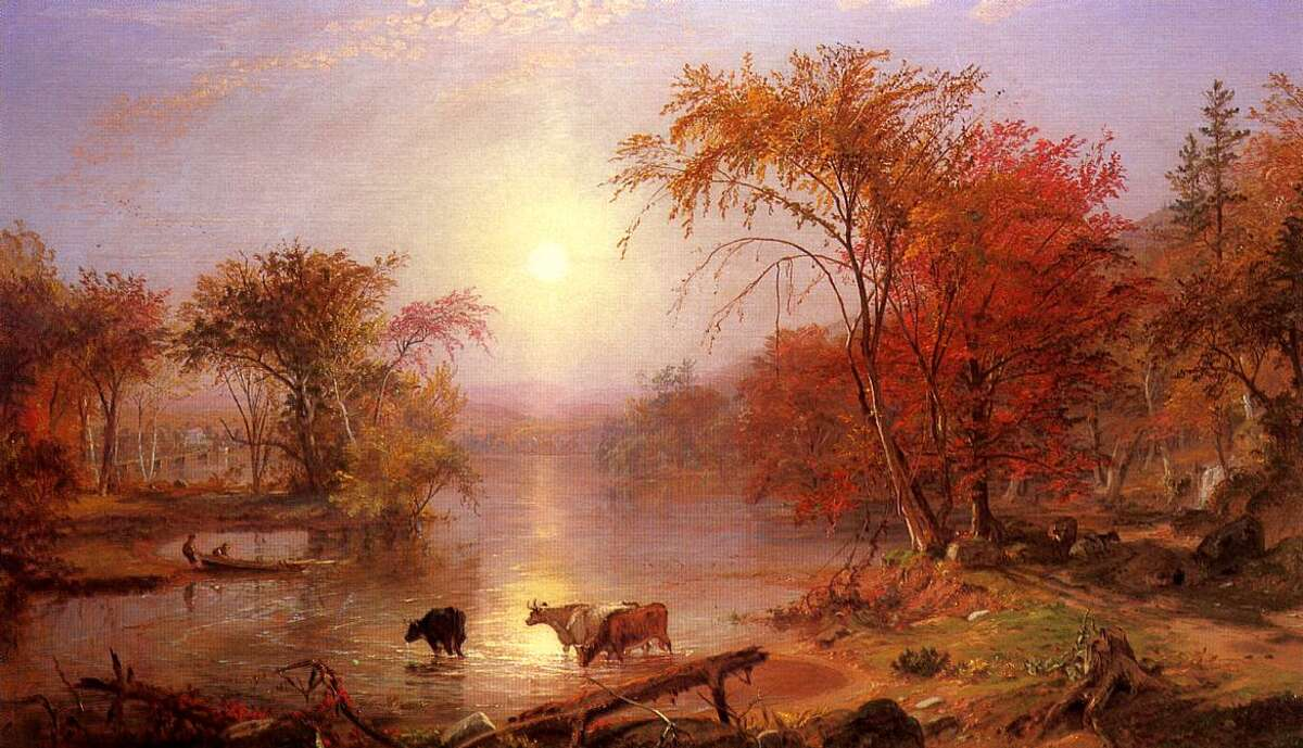 """The painting """"Indian Summer on the Hudson River,"""" by Albert Bierstadt. A number of theories exist about where the term Indian summer came from, some more innocuous than others. Bostonian Albert Matthews became a 19th century expert on the term and researched dozens of its earliest uses. But Matthews never discovered a definitive explanation for what it meant."""