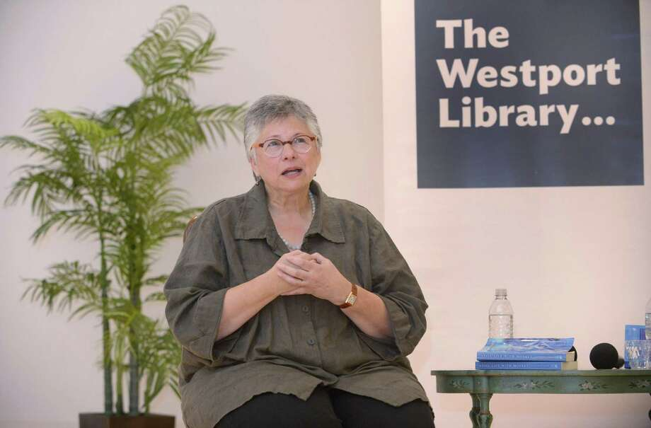 "Bethany author Katharine Weber speaks about her new novel, ""Still Life With Monkey"" at the Westport Women's Club. Photo: Erik Trautmann / Hearst Connecticut Media / Norwalk Hour"