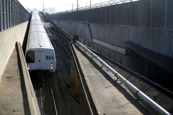 A westbound BART train enters the transbay tube in Oakland, Calif. on Friday, Feb. 16, 2018. BART officials will begin a study on the feasibility of a second tube under the bay.