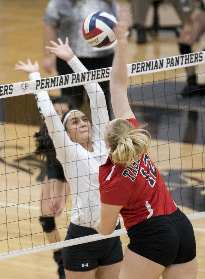 Noemi Marquez (3) attempts to block the ball. Permian versus Tascosa Tuesday night at Permian Field House. 10/2/2018  Jacy Lewis/191 News Photo: Jacy Lewis/191 News