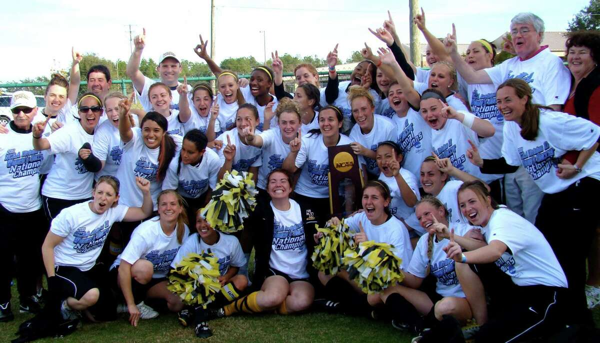 The College of Saint Rose's 2011 women's soccer team celebrates its national championship. (Courtesy of Saint Rose)