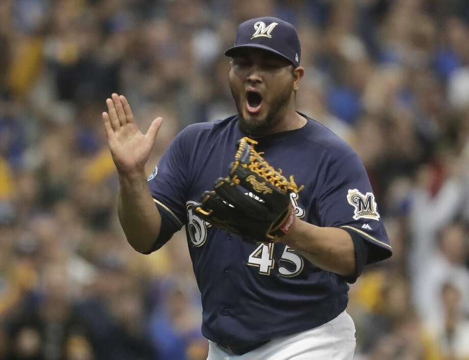 Brewers starter Jhoulys Chacin threw five shutout innings in his playoff debut as Milwaukee took a 2-0 series lead over the Colorado Rockies. Photo: Morry Gash / Associated Press