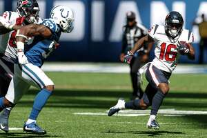 Houston Texans wide receiver Keke Coutee (16) runs past Indianapolis Colts linebacker Darius Leonard (53) after making a catch during the first quarter of an NFL football game at Lucas Oil Stadium on Sunday, Sept. 30, 2018, in Indianapolis.