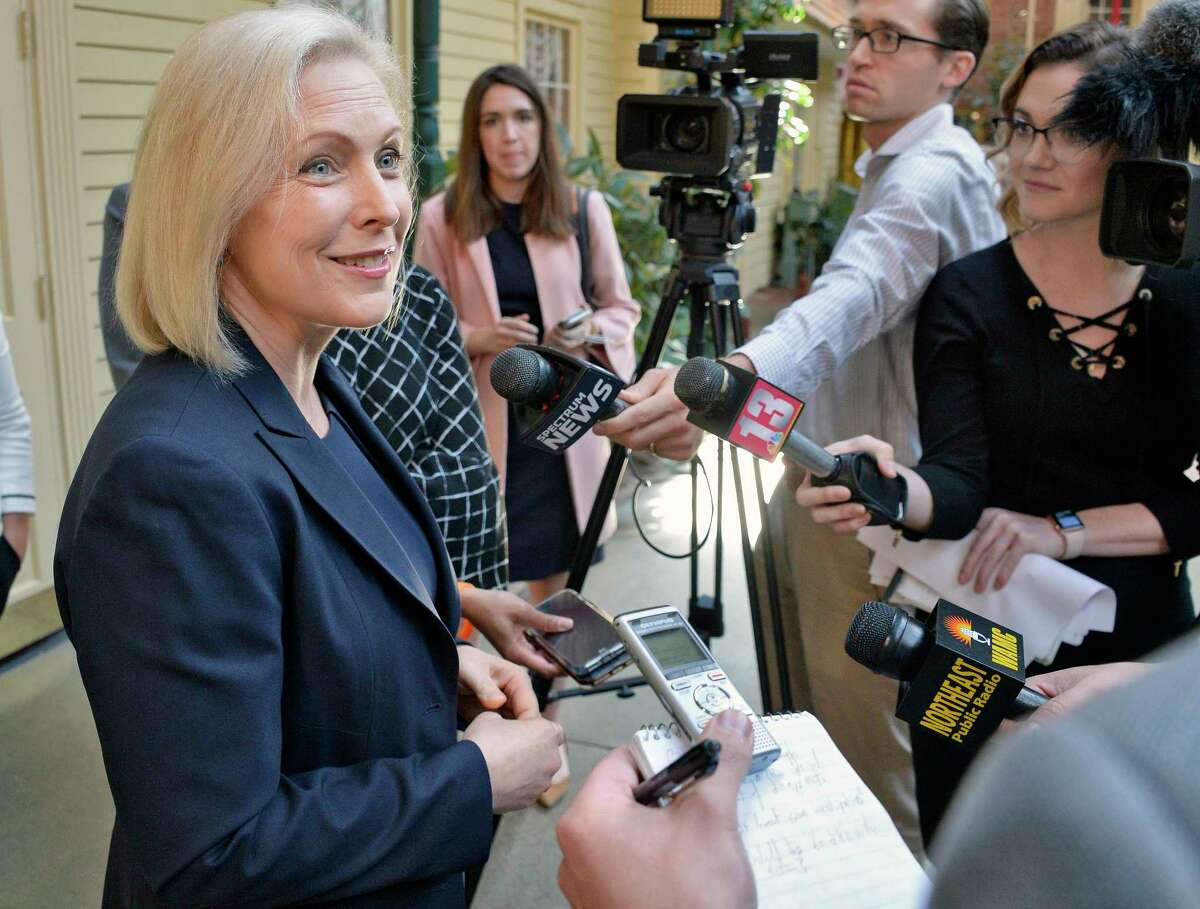 U.S. Senator Kirsten Gillibrand speaks with reporters following an appearance the NAACP New York State Convention Friday Oct. 5, 2018 in Colonie, NY. (John Carl D'Annibale/Times Union)