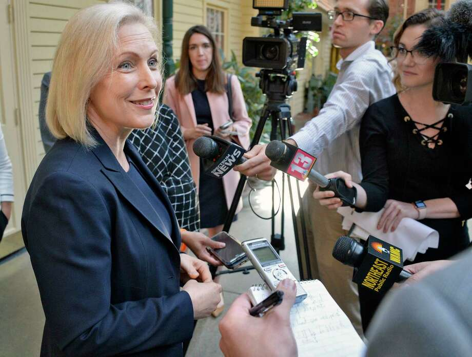 U.S. Senator Kirsten Gillibrand speaks with reporters following an appearance the NAACP New York State Convention Friday Oct. 5, 2018 in Colonie, NY.  (John Carl D'Annibale/Times Union) Photo: John Carl D'Annibale / 20045039A